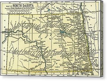 North Dakota Antique Map 1891 Canvas Print