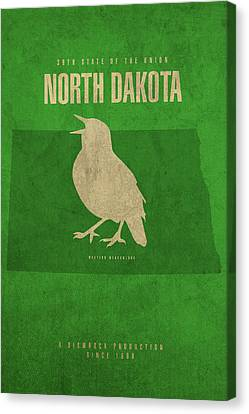 North Dakota State Facts Minimalist Movie Poster Art Canvas Print