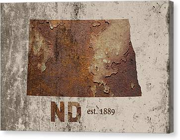 Rust Canvas Print - North Dakota State Map Industrial Rusted Metal On Cement Wall With Founding Date Series 025 by Design Turnpike