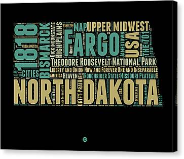 North Dakota Word Cloud 1 Canvas Print by Naxart Studio