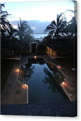 North - Eastern African Home - Sundown Over The Swimming Pool Canvas Print by Exploramum Exploramum