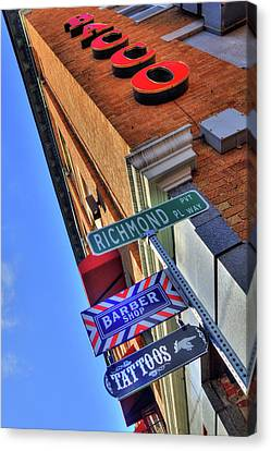 Canvas Print featuring the photograph North End Boston Signs - Bacco by Joann Vitali