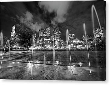 North End Park Fountains Boston Ma Black And White Canvas Print by Toby McGuire