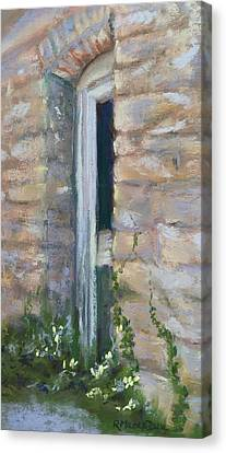 Canvas Print featuring the pastel North Hill Alley Door by Rebecca Matthews