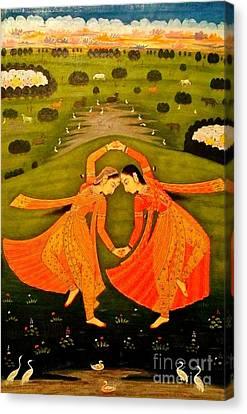 North India Dancers By Pahari Of Rajasthan 1800 Canvas Print