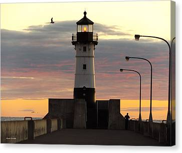 Duluth Canal Park Canal Park Lighthouse Lighthouse Lake Superior Minnesota Canvas Print - North Pier Lighthouse by Alison Gimpel