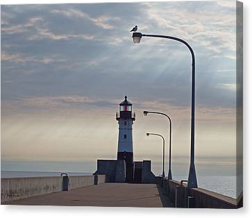 Duluth Canal Park Canal Park Lighthouse Lighthouse Lake Superior Minnesota Canvas Print - North Pier Rays by Alison Gimpel