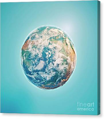 North Pole 3d Render Planet Earth Clouds Canvas Print by Frank Ramspott