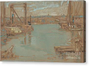 North River Dock, New York, 1901 Canvas Print