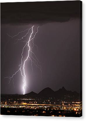 Carefree Arizona Canvas Print - North Scottsdale Lightning Strike by James BO  Insogna