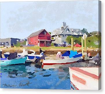 North Shore Art Association At Pirates Lane On Reed's Wharf From Beacon Marine Basin Canvas Print by Melissa Abbott