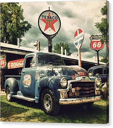 Old Trucks Canvas Print - North Shore Garage by Joel Witmeyer
