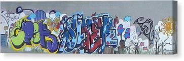 Canvas Print featuring the digital art North Shore Graffitti by Erika Swartzkopf