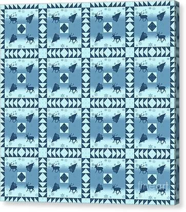 Block Quilts Canvas Print - North Woods Pattern by Methune Hively