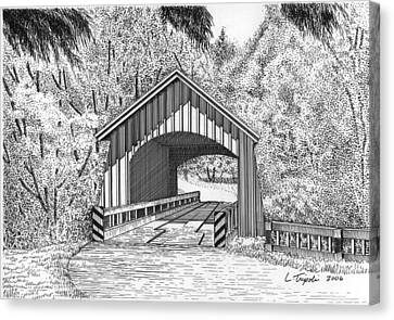 North Yachats Covered Bridge Canvas Print by Lawrence Tripoli