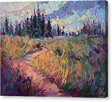 Canvas Print featuring the painting Northern Firs by Erin Hanson