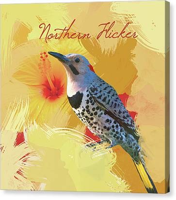 Northern Flicker Watercolor Photo Canvas Print by Heidi Hermes