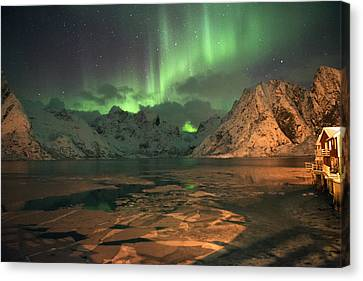Northern Light In Lofoten, Nordland 1 Canvas Print
