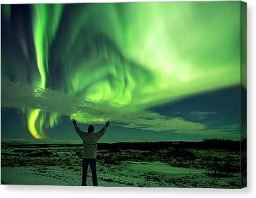 Canvas Print featuring the photograph Northern Light In Western Iceland by Dubi Roman