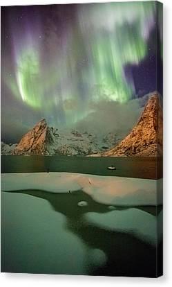 Northern Lights Above Olstinden Canvas Print by Alex Conu