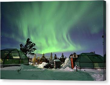 Morphing Canvas Print - Northern Lights And Glass Igloo by Edwin Verin
