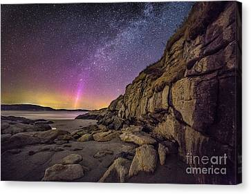 Northern Lights And Milky Way At The Cliffs On The Island Off Po Canvas Print