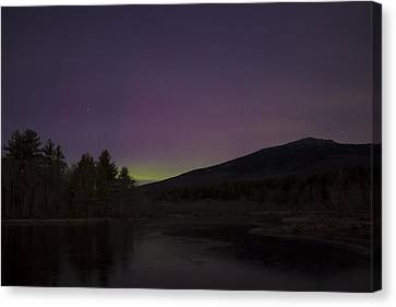 Northern Lights And Mount Monadnock December 2015 Canvas Print by John Burk