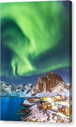 Northern Lights In Hamnoy Canvas Print by Alex Conu