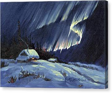 Canvas Print featuring the painting Northern Lights by Kurt Jacobson