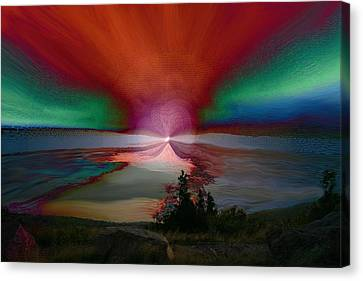 Northern Lights Canvas Print by Linda Sannuti