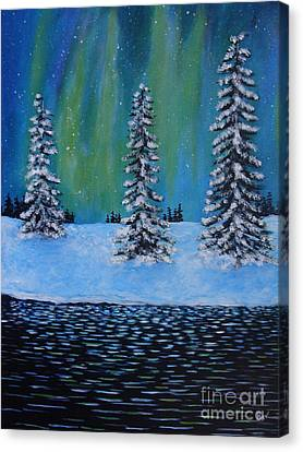 Northern Lights Of Labrador Canvas Print by Beverly Livingstone