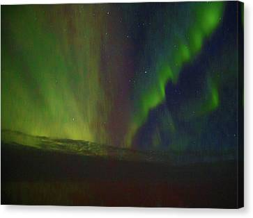 Northern Lights Or Auora Borealis Canvas Print by Allan Levin
