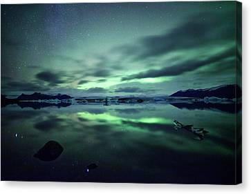 Northern Lights Over Jokulsarlon Canvas Print by Matteo Colombo