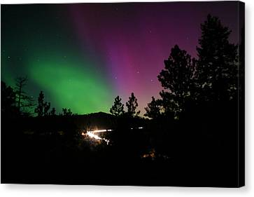 Canvas Print featuring the photograph Northern Lights Over Storm Mountain by Perspective Imagery