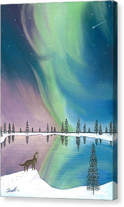 Northern Lights The Wolf And The Comet  Canvas Print by Jackie Novak