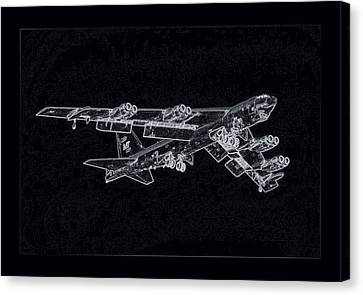 Terrorist Canvas Print - Boeing B-52 Stratofortress Enhanced Negatively Grey With Black Border by L Brown