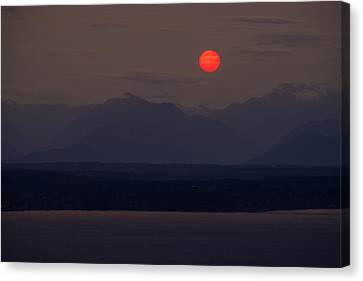 Northwest Red Sunset Over The Olympics Canvas Print