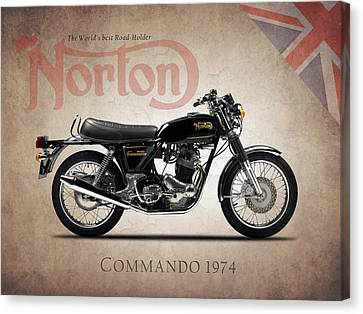 Motors Canvas Print - Norton Commando 1974 by Mark Rogan