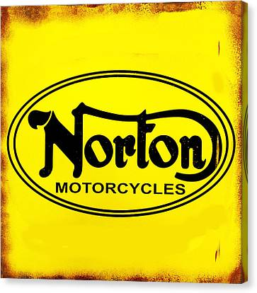Vintage Sign Canvas Print - Norton Motorcycles by Mark Rogan