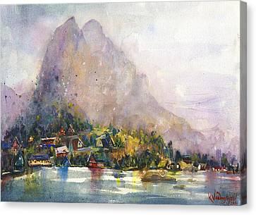 Mountain Cabin Canvas Print - Norway by Kristina Vardazaryan