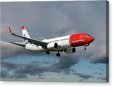 Airlines Canvas Print - Norwegian Boeing 737-8jp by Nichola Denny