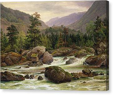 Log Cabins Canvas Print - Norwegian Waterfall by Thomas Fearnley