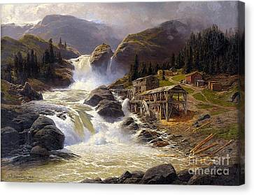 Norwegian Waterfall With Sawmill  Canvas Print by MotionAge Designs
