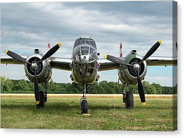 B-25 Canvas Print - Nose To Nose With Panchito by Peter Chilelli