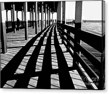 Nostalgic Walk On The Pier Canvas Print
