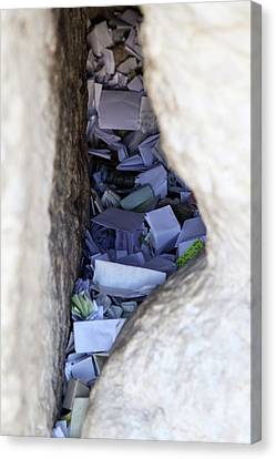 Canvas Print featuring the photograph Notes In The Wailing Wall  by Yoel Koskas