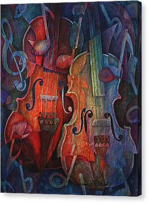 Classical Music Canvas Print - Noteworthy - A Viola Duo by Susanne Clark