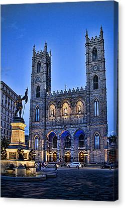 Notre Dame Basilica In Montreal As Dusk Canvas Print