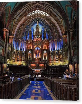 Notre Dame Basilica Montreal City Canvas Print by Pierre Leclerc Photography