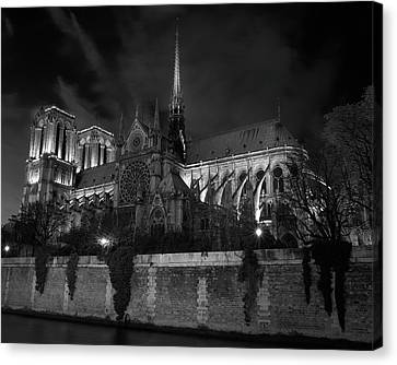 Canvas Print featuring the photograph Notre Dame By Night, Paris, France by Richard Goodrich